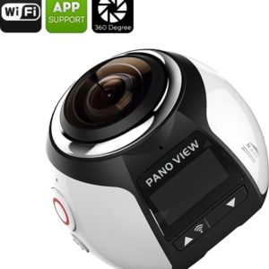 360 graden Camera 4K PANOVIEW 30M waterdicht case, 16MP, FHD 2448P, 30FPS, HDMI, WI-FI (zilver)